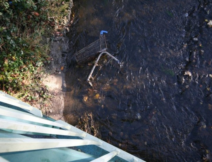 Dumped shopping trolleys in the River Cynon