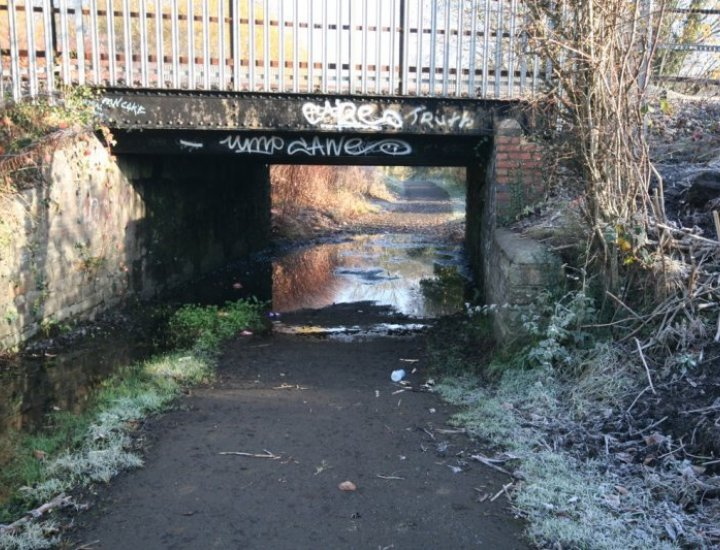 Walkway under railway bridge heading for the Aberdare Canal