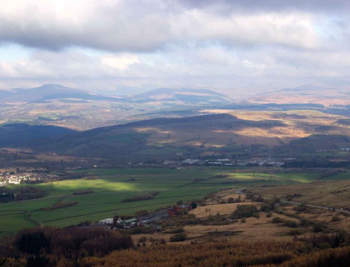 Rhigos village and Brecon Beacons National Park