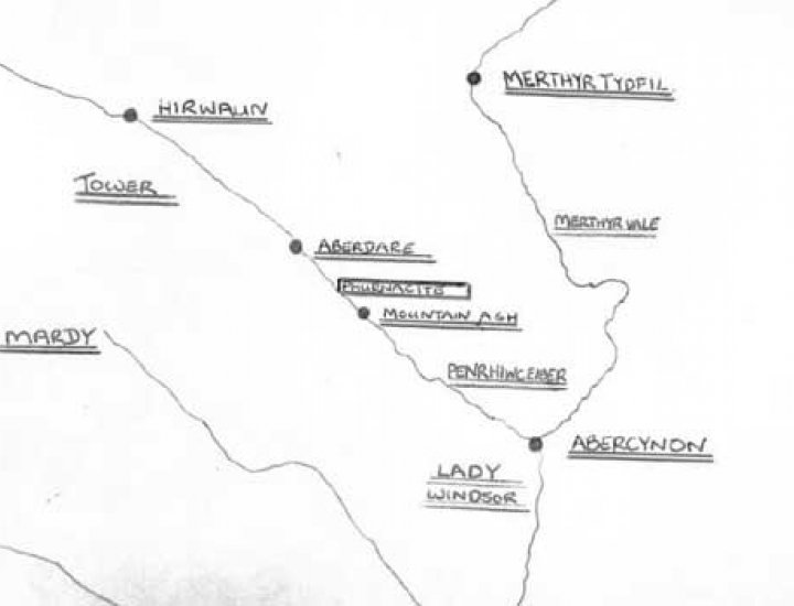 Map of Rhondda, Aberdare and Merthyr Valleys. Showing the location of the Phurnacite Plant and various colleries